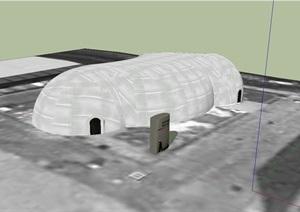 世界气象馆建筑设计SU(草图大师)模型