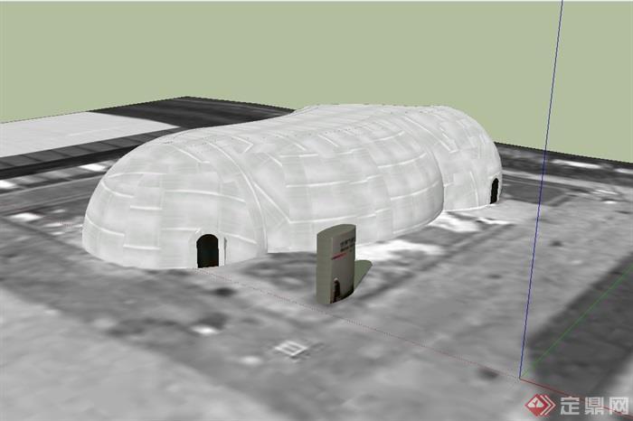 世界气象馆建筑设计su模型(1)