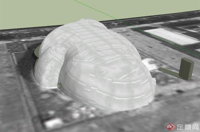 世界气象馆建筑设计su模型(2)
