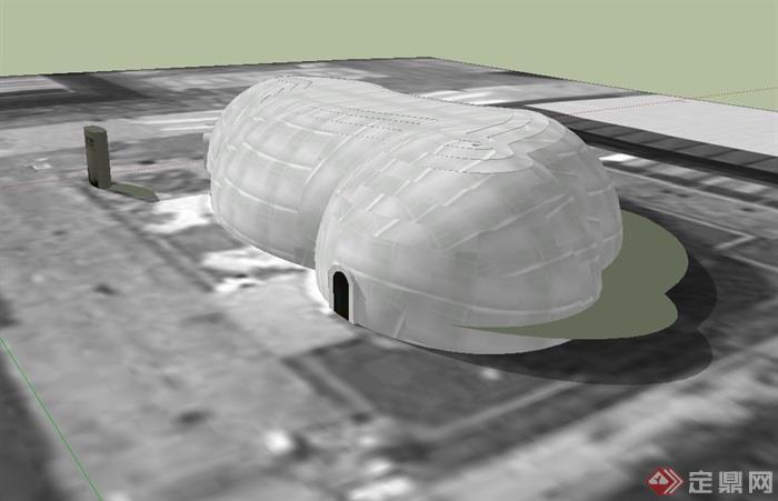 世界气象馆建筑设计su模型(3)