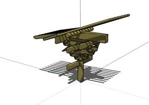 古典中式风格斗拱构件设计SU(草图大师)模型
