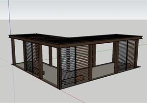 某庭院长廊SU(草图大师)模型
