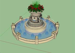 某花钵喷泉水景设计SU(草图大师)模型-水景喷泉园林景观细部图片