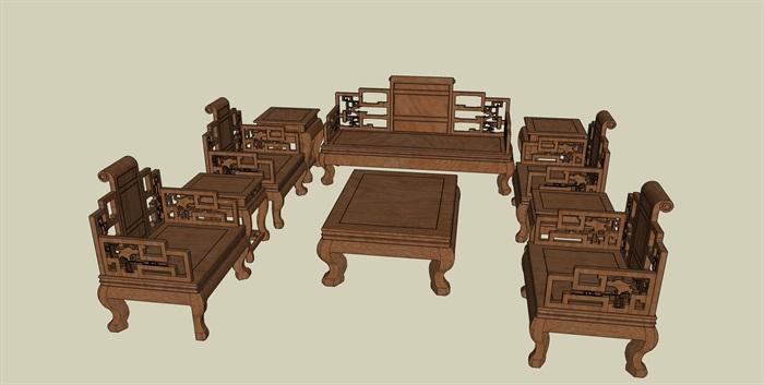 中式沙发家具桌椅组合设计su模型[原创]