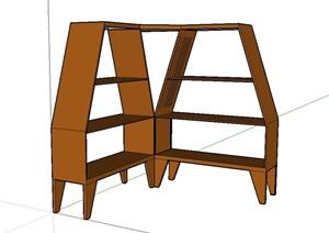 某室内木质书柜SU(草图大师)模型
