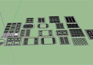 多种不同的花窗设计SU(草图大师)模型