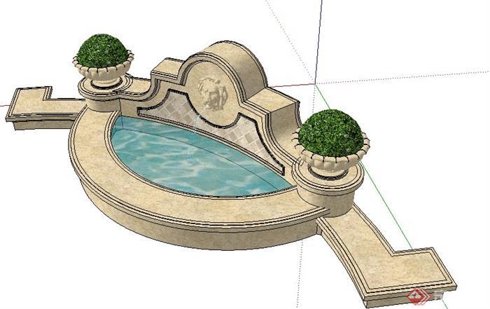 欧式喷泉水景单体设计su模型[原创]