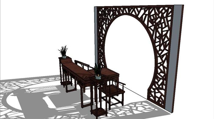 中式传统风格雕花屏风拱门su模型[原创]