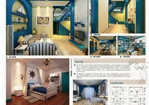 地中海风格家装室内设计毕业展板排版PSD源文件