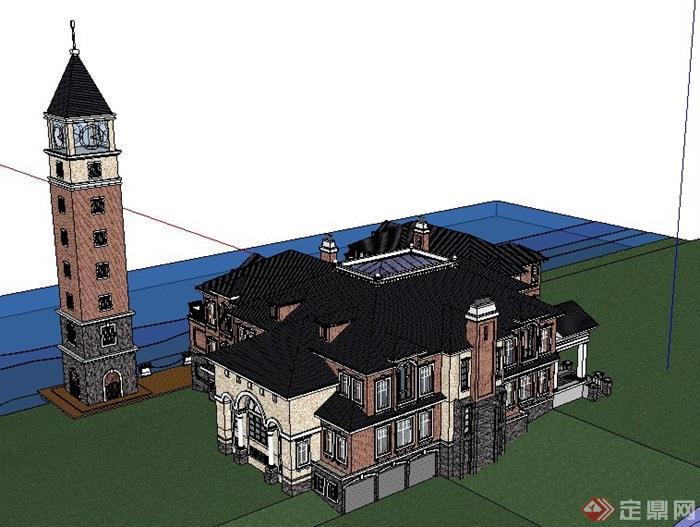 欧式风格精美海边别墅建筑设计su模型[原创]