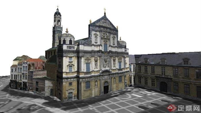 古典欧式风格办公建筑体设计su模型[原创]