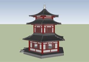 古建六角楼模型