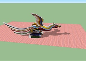 凤凰雕塑素材设计SU(草图大师)模型