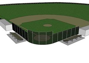 棒球场地设计SU(草图大师)模型
