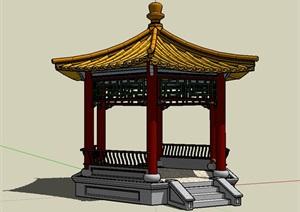 六角亭设计SU(草图大师)模型