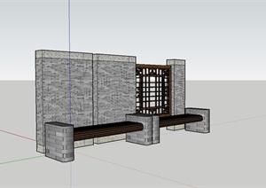 中式景观墙设计SU(草图大师)模型