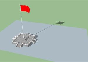 红旗台设计SU(草图大师)模型