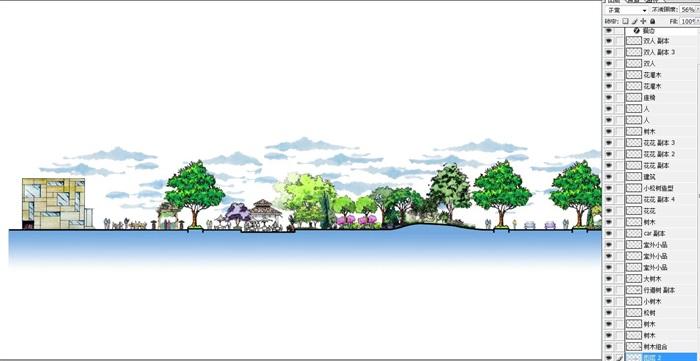 公园景观手绘断面图psd分层素材[原创]