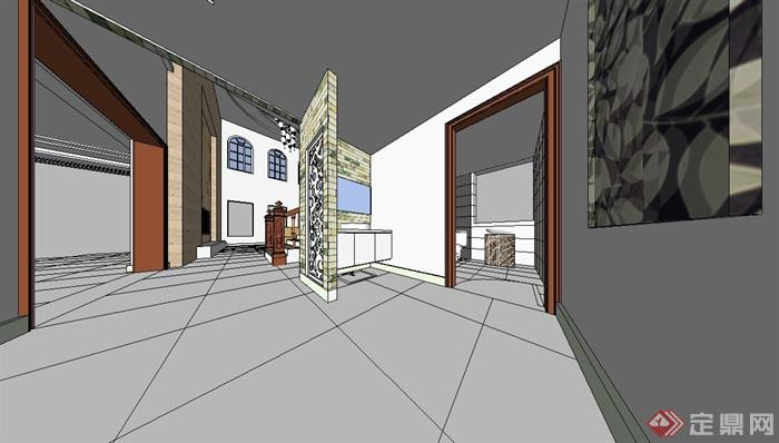 家装二层住宅室内设计su模型[原创]