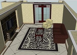 新古典风格家装客餐厅SU(草图大师)模型