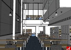 图书馆室内空间设计SU(草图大师)模型