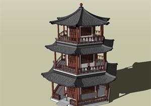 古典六角塔阁楼设计SU(草图大师)模型