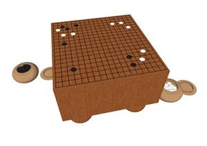黑白棋棋盘设计SU(草图大师)模型