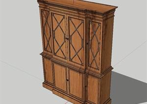 现代风格木质完整柜子设计SU(草图大师)模型