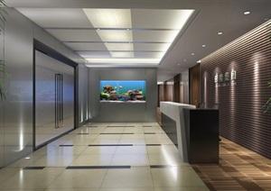 盘古大观办公室含CAD施工图+效果图+模型