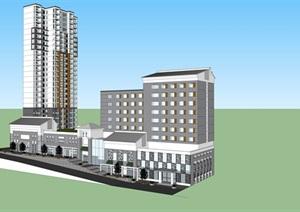 现代风格商业住宅建筑设计SU(草图大师)模型含cad方案