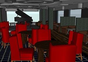 咖啡厅经典室内空间SU(草图大师)模型