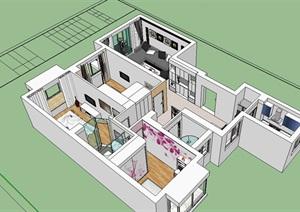 清新现代简约室内住宅空间设计SU(草图大师)模型