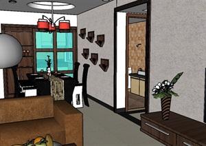 胜达花园室内空间装饰设计SU(草图大师)模型