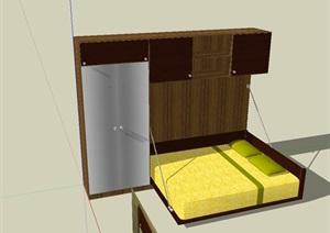 室内空间床、衣柜家具设计SU(草图大师)模型