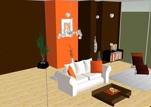 室内空间客厅设计SU(草图大师)模型