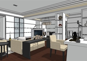 现代豪华室内家装全套SU(草图大师)模型