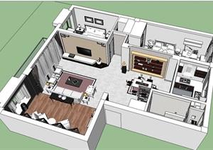 现代中式公寓增福设计SU(草图大师)模型