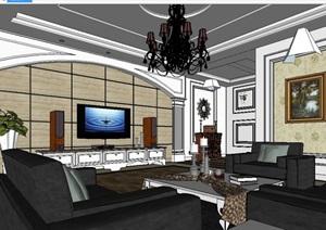 某现代含参数室内客厅设计SU(草图大师)模型