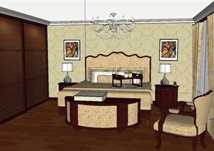 新古典风格家装主卧空间设计SU(草图大师)模型