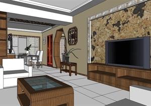 新中式家装四室两厅住宅空间SU(草图大师)模型