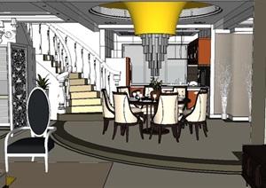 某新古典风格跃层室内住宅空间设计SU(草图大师)模型