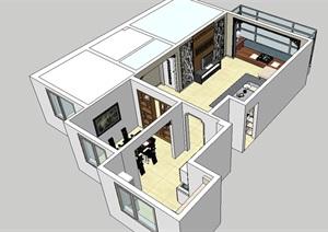 中式80平的小家装室内客餐厅设计SU(草图大师)模型