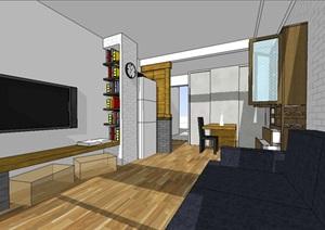 自家80平米两居室塔楼装修设计SU(草图大师)模型
