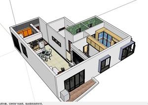 家装简单欧式设计SU(草图大师)模型