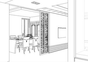 现代中式风格无材质贴图住宅室内设计SU(草图大师)模型
