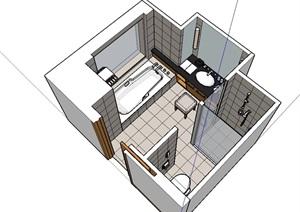 厕所室内浴室设计SU(草图大师)模型