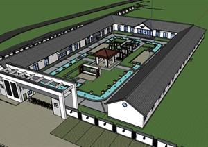 新中式疗养院建筑SU(草图大师)模型