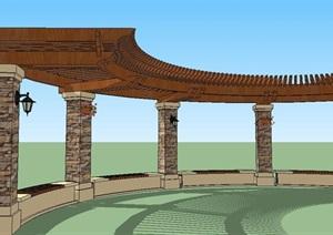 弧形廊架SU(草图大师)模型