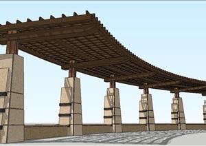 长弧形单臂廊架SU(草图大师)模型