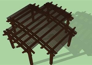 十字形木廊架SU(草图大师)模型